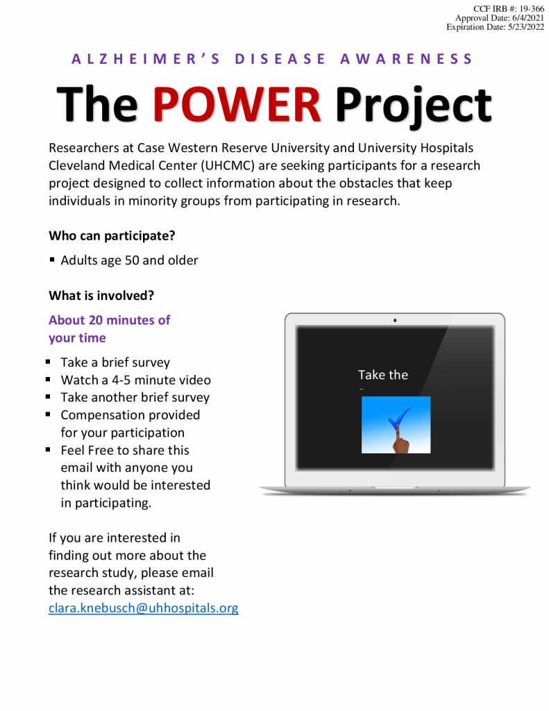 The POWER Project flier.  Email Clara.Knebusch@uhhospitals.org for more information.