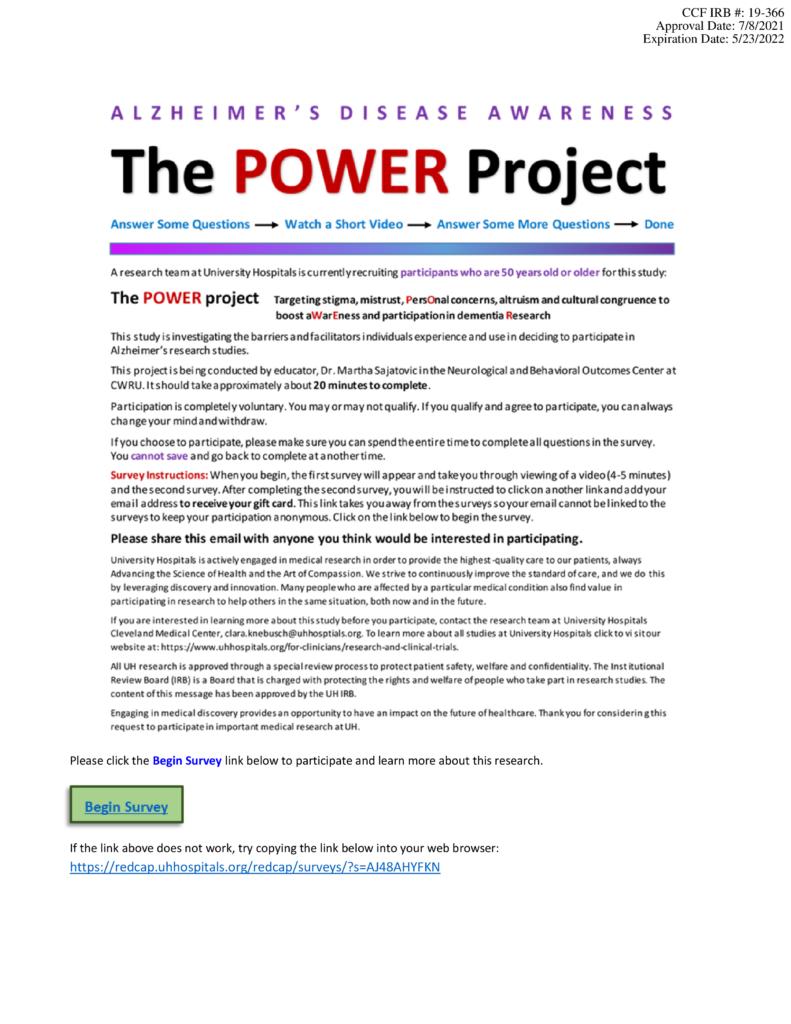 The POWER Project flier.  Click below for more information. https://redcap.uhhospitals.org/redcap/surveys/?s=AJ48AHYFKN